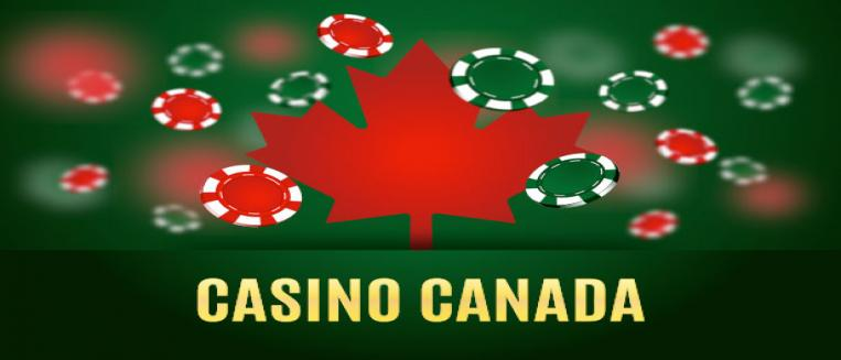 Casino Canada with maple leaf and casino chips for online casino entertainment